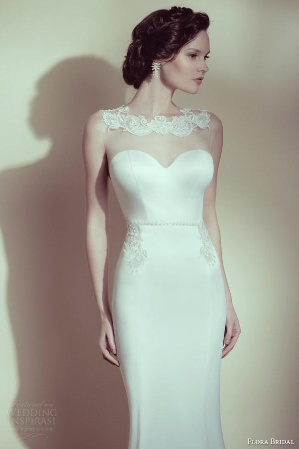 flora bridal 2014 monique sleeveless illusion wedding dress