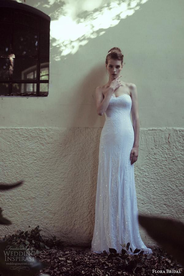 flora bridal 2014 strapless sequin sheath wedding dress jane