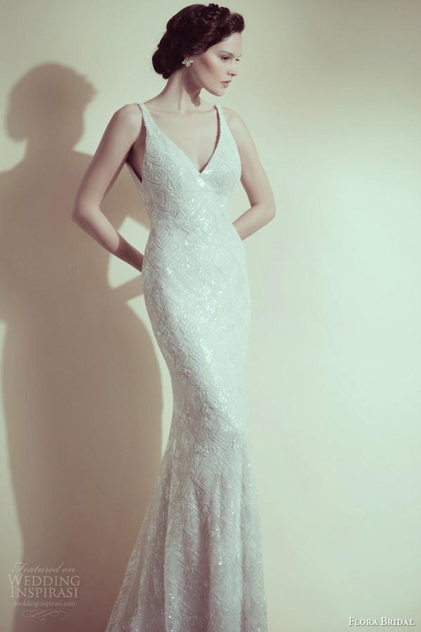flora bridal 2014 taylor sleeveless embellished sheath wedding dress with straps
