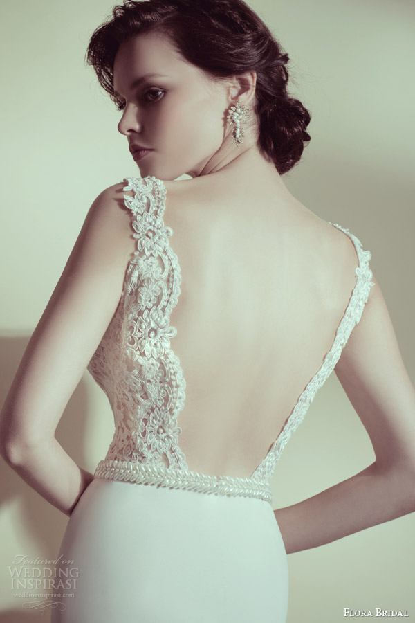 flora bridal 2014 veronica sleeveless wedding dress with straps beaded lace bodice back view