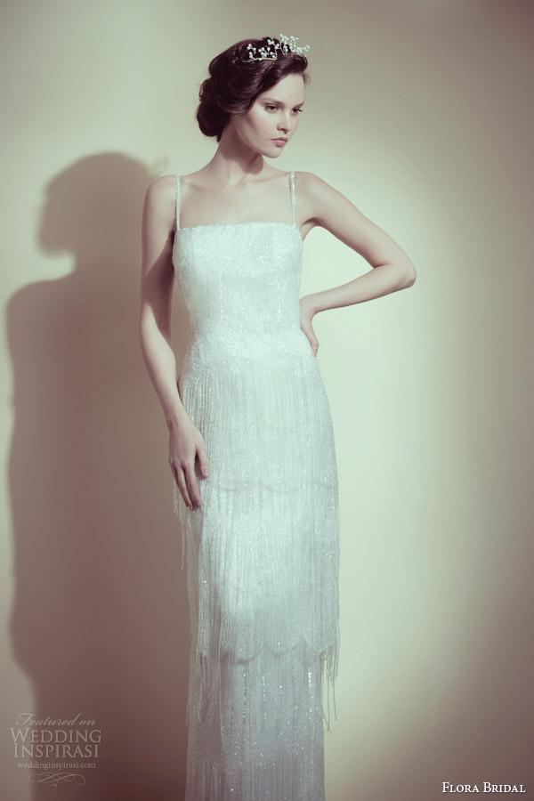 flora bridal 2014 vivian beaded fringe wedding dress with straps