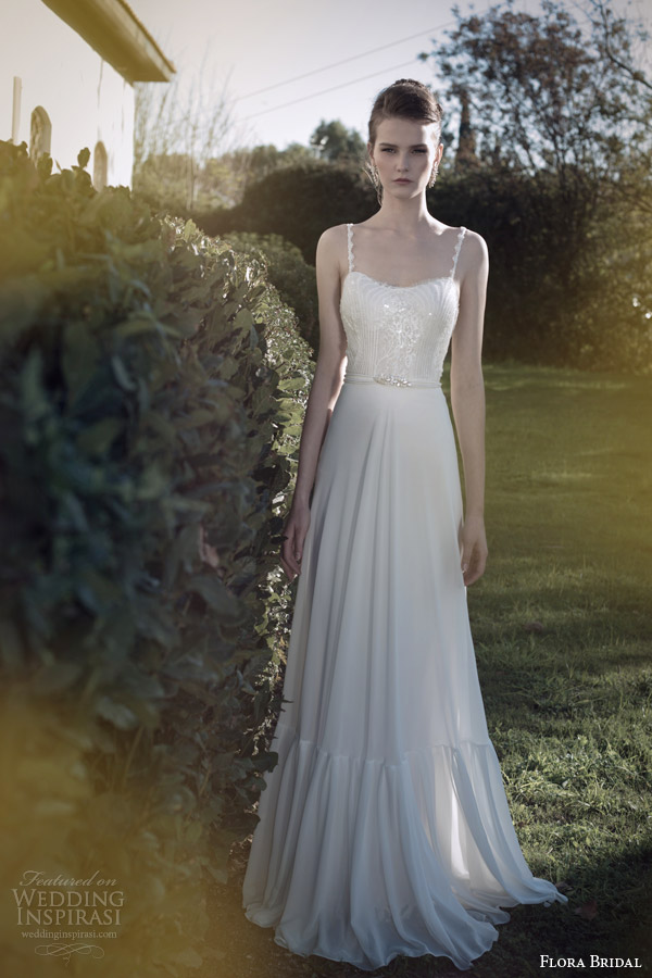 flora bridal 2014 wedding dress with straps kate