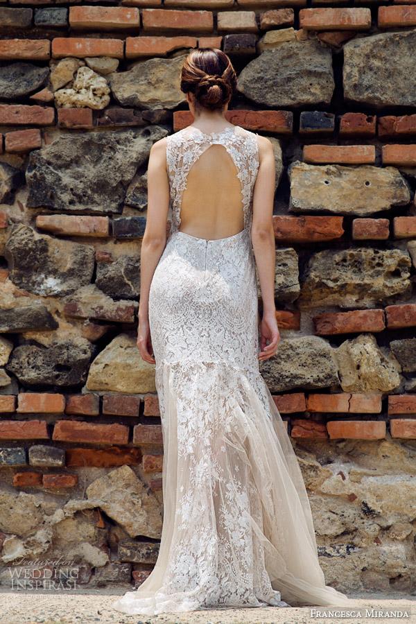francesca miranda bridal fall 2014 antoinette sleeveless wedding dress keyhole back view
