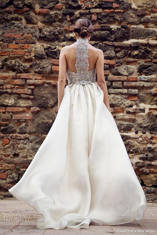 francesca miranda bridal fall 2014 camille sleeveless high neck wedding dress racer back view