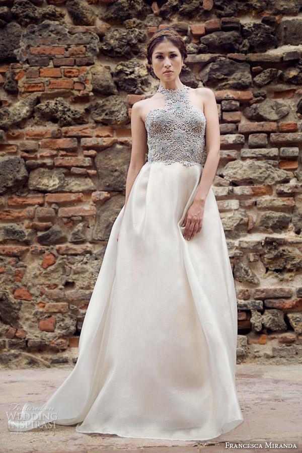 francesca miranda bridal fall 2014 camille sleeveless high neck wedding dress