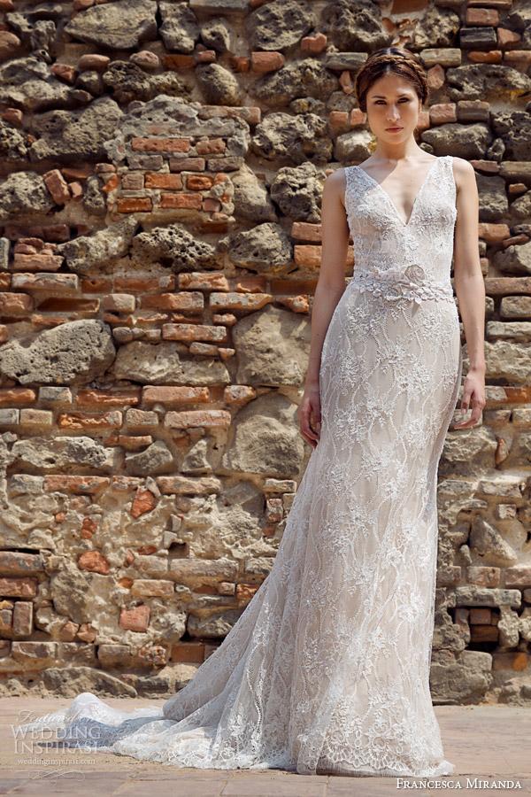 francesca miranda bridal fall 2014 constantina sleeveless v neck wedding dress