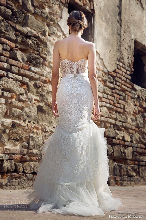 francesca miranda bridal fall 2014 jolie strapless mermaid wedding dress back view