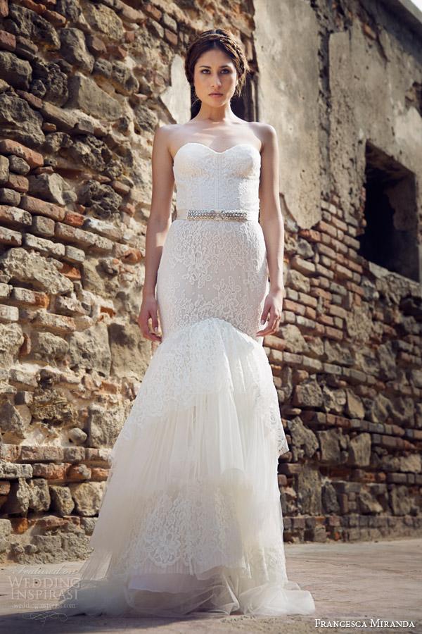 francesca miranda bridal fall 2014 jolie strapless mermaid wedding dress