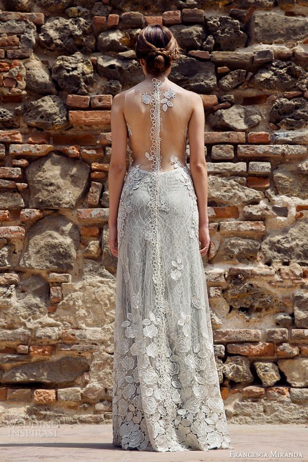 francesca miranda bridal fall 2014 lauren sleeveless sheath wedding dress illusion back view