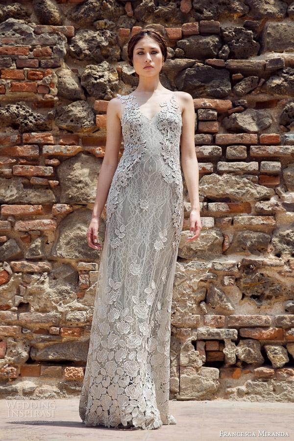 francesca miranda bridal fall 2014 lauren sleeveless sheath wedding dress