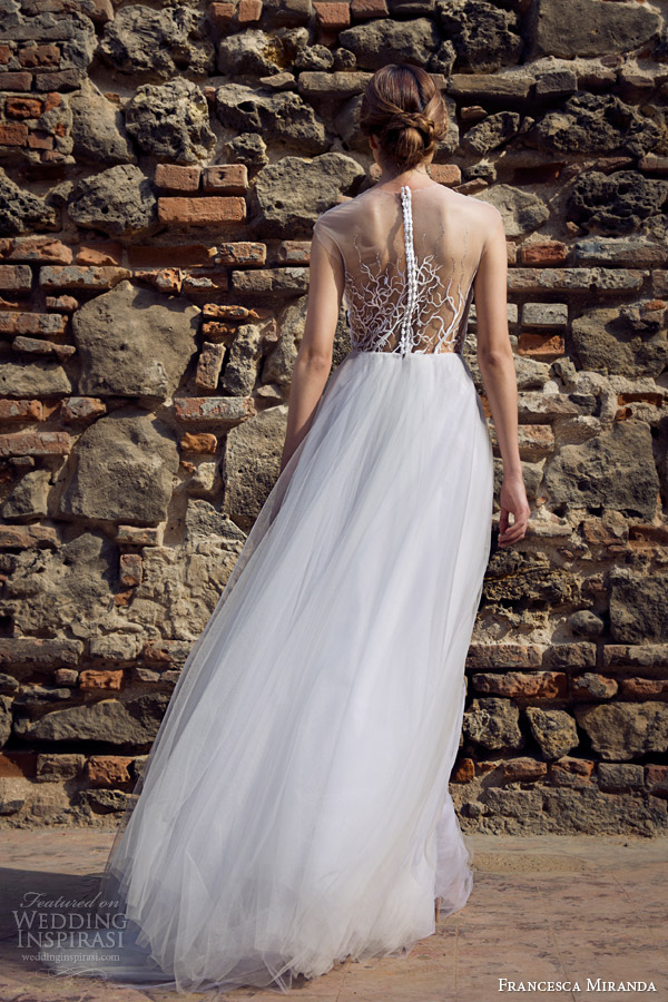 francesca miranda bridal fall 2014 roxanne wedding dress illusion neckline back view