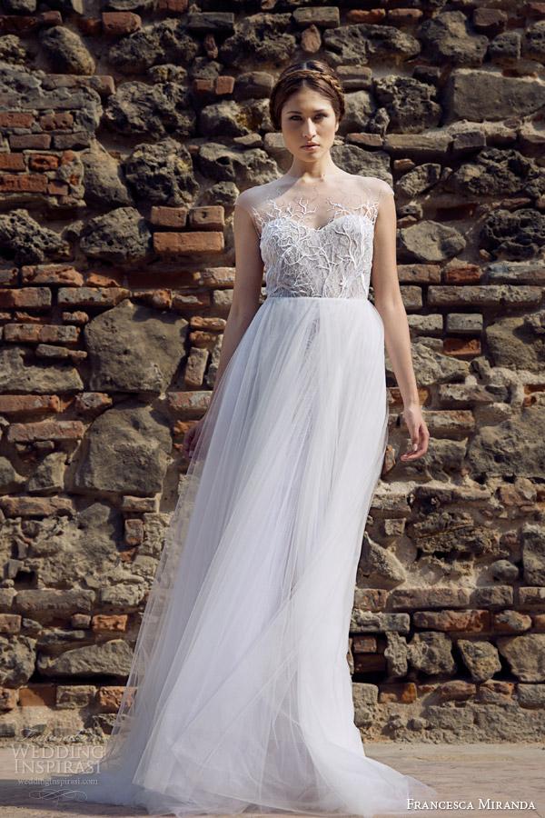 francesca miranda bridal fall 2014 roxanne wedding dress illusion neckline