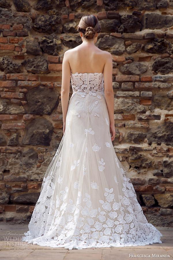 francesca miranda bridal fall 2014 strapless wedding dress allure back