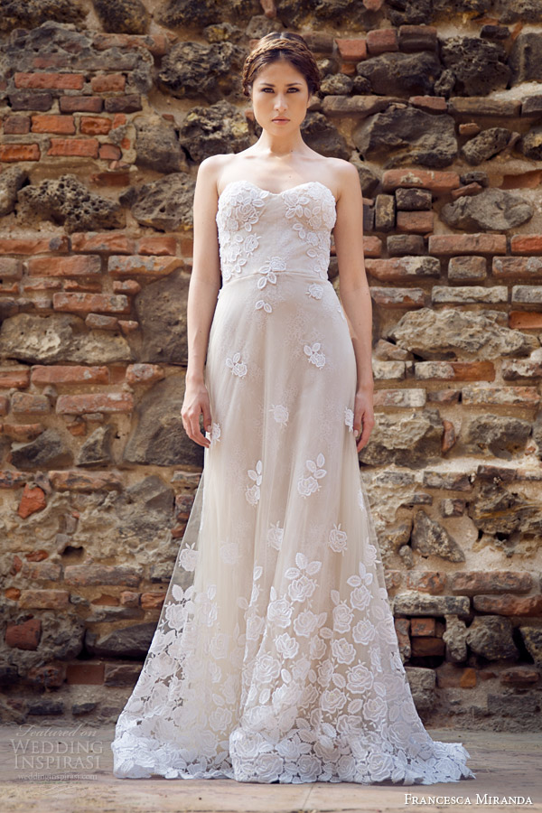 francesca miranda bridal fall 2014 strapless wedding dress allure front