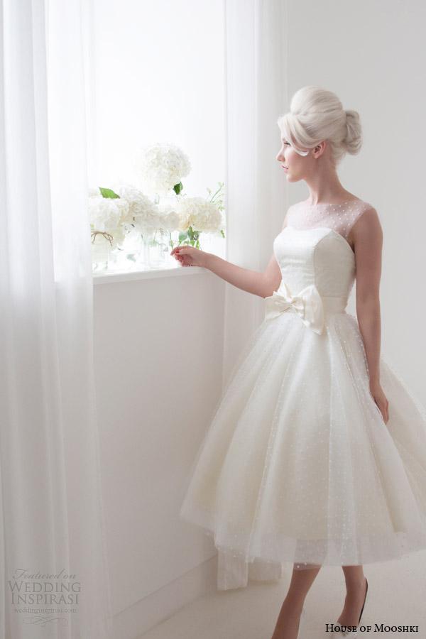 house of mooshki bridal spring 2015 daisy short wedding dress sleeveless illusion neckline side view
