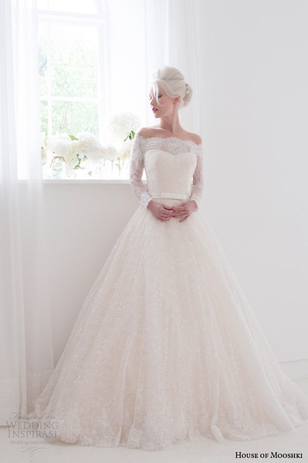 house of mooshki bridal spring 2015 flora off shoulder long sleeve lace wedding dress