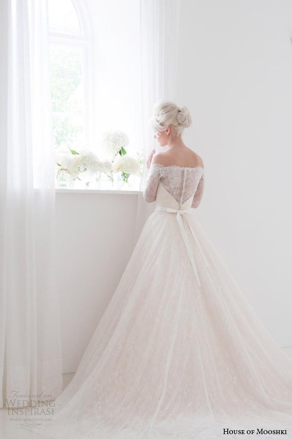 house of mooshki bridal spring 2015 flora off shoulder long sleeve wedding dress back view