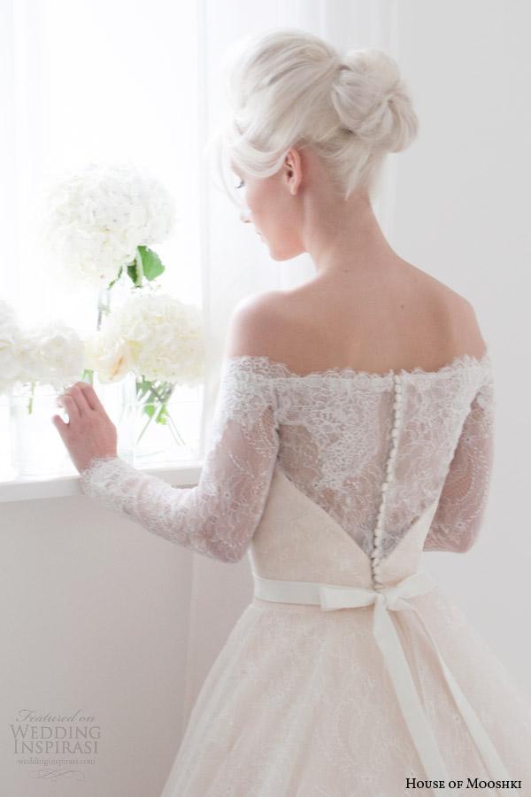 house of mooshki bridal spring 2015 flora off shoulder long sleeve wedding dress bodice back close up