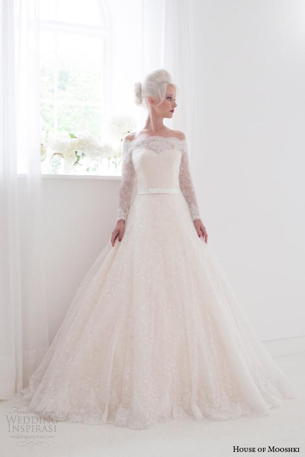 house of mooshki bridal spring 2015 flora off shoulder long sleeve wedding dress