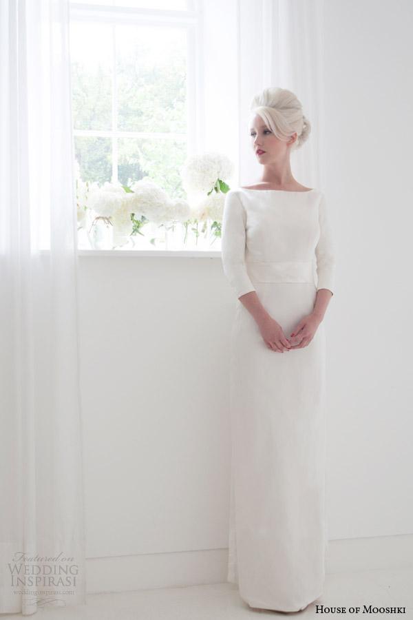 house of mooshki bridal spring 2015 jacqueline bateau neck column wedding dress sleeves