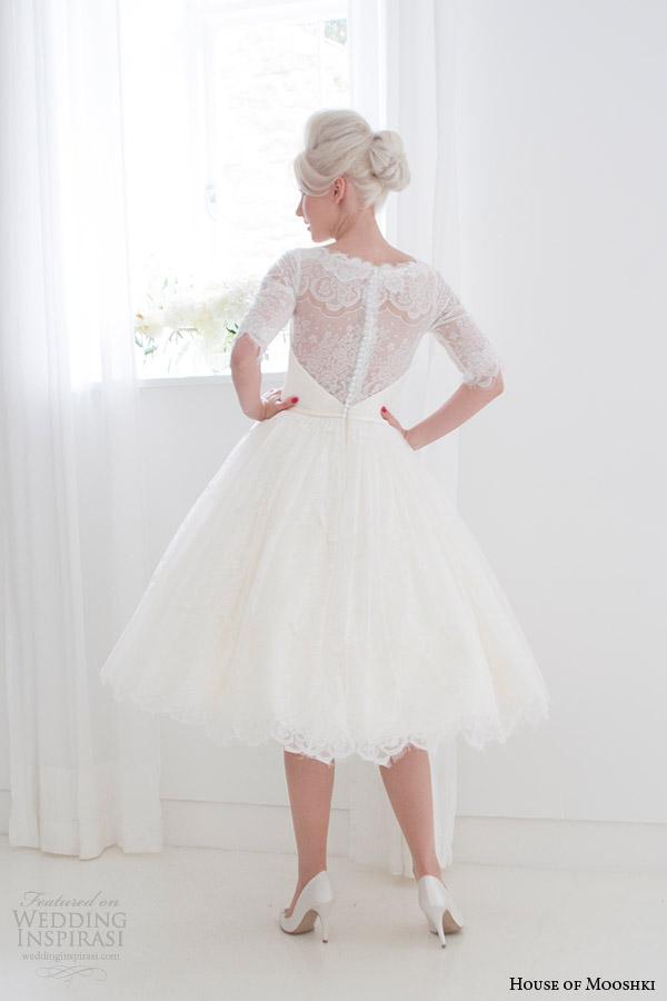house of mooshki short wedding dresses spring 2015 primrose full lace tea length gown sleeves full back view