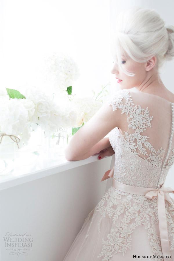 house of mooshki spring 2015 poppy blush tea length illusion cap sleeves short wedding dress lace detail
