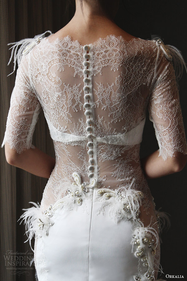 orkalia couture fall 2014 wedding dress illusion neckline sleeves back view
