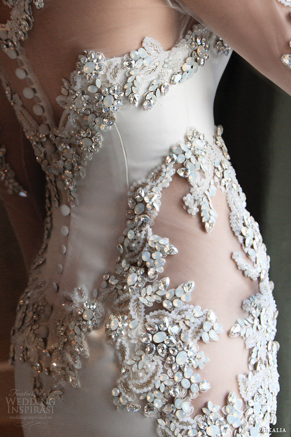 orkalia fall 2014 couture long sleeve wedding dress close up detail