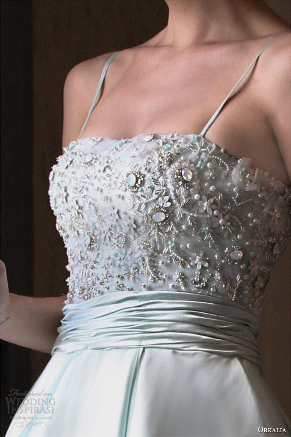 orkalia fall 2014 couture wedding dress with straps embellished bodice detail