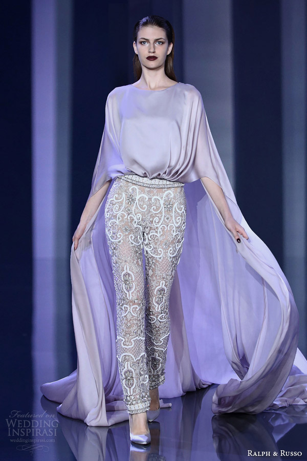 ralph russo fall winter haute couture 2014 2015 look 12 embellished pant trousers ethereal cape top