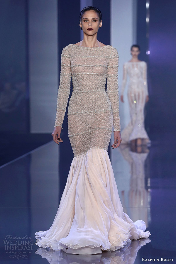 ralph russo fall winter haute couture 2014 2015 look 9 long sleeve embellished top skirt
