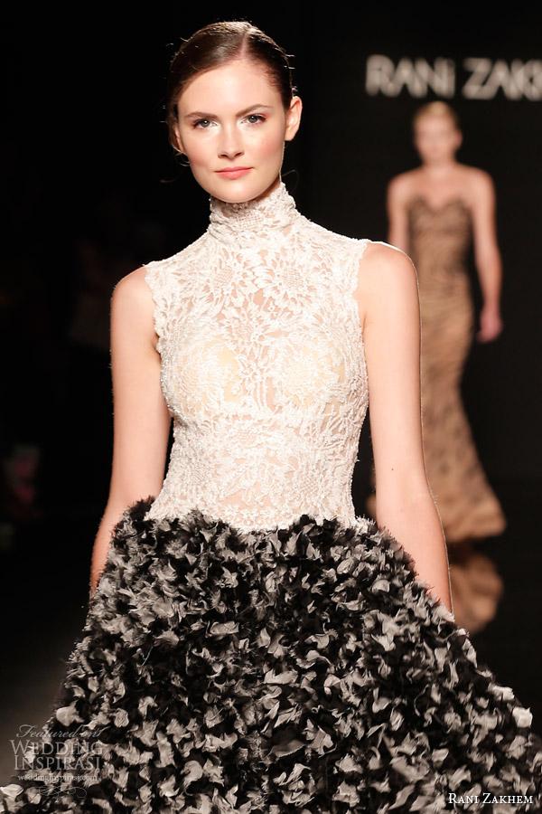 rani zakhem couture fall 2014 look 10 short halter neck lace bodice dress black skirt close up