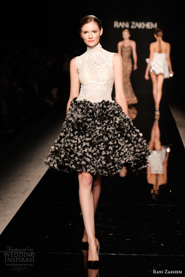 rani zakhem couture fall 2014 look 10 short halter neck lace bodice dress black skirt