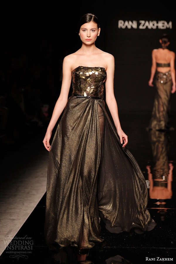 rani zakhem couture fall 2014 look 13 strapless gold flecked dress