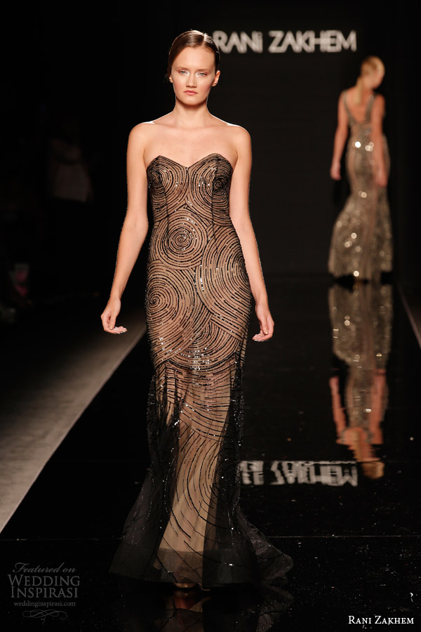 rani zakhem couture fall 2014 look 15 strapless sheath dress black overlay