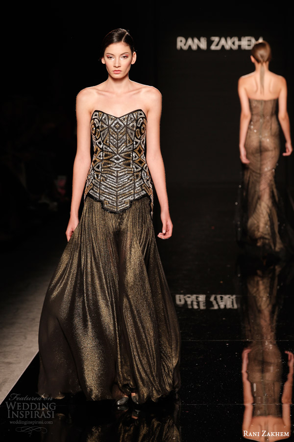 rani zakhem couture fall 2014 look 16 strapless copper gown
