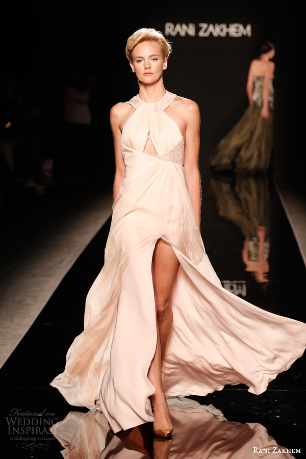 rani zakhem couture fall 2014 look 17 sleeveless halter neckline gown with slit keyhole