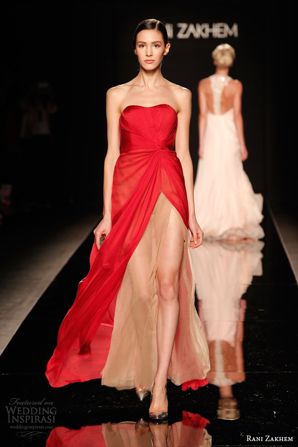 rani zakhem couture fall 2014 look 18 strapless red gown nude underlay slit