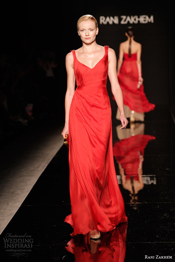 rani zakhem couture fall 2014 look 19 sleeveless red gown straps
