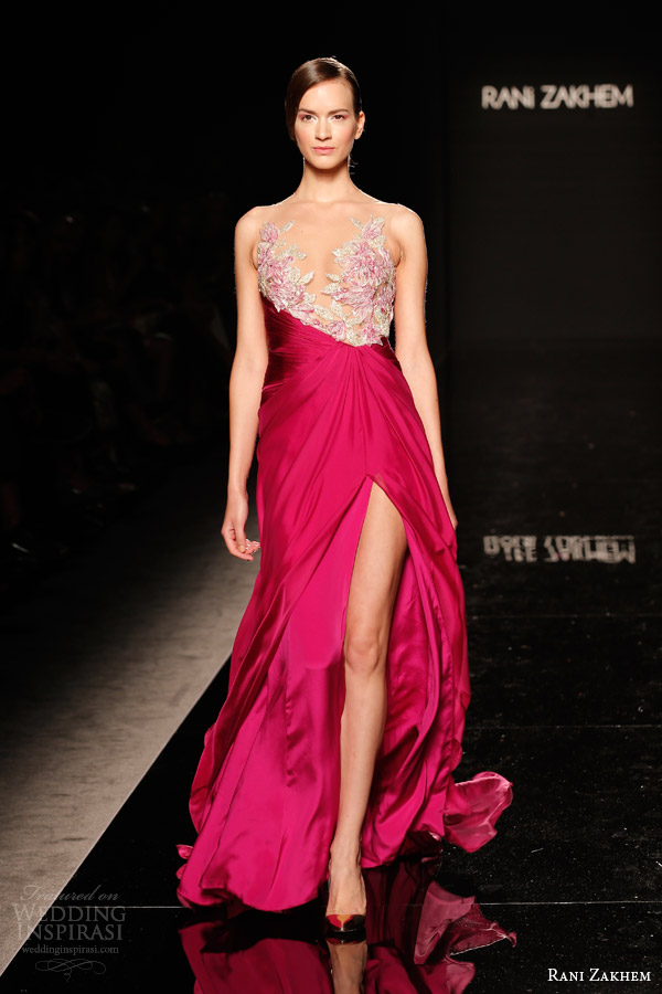 rani zakhem couture fall 2014 look 21 sleeveless gown with illusion neckline