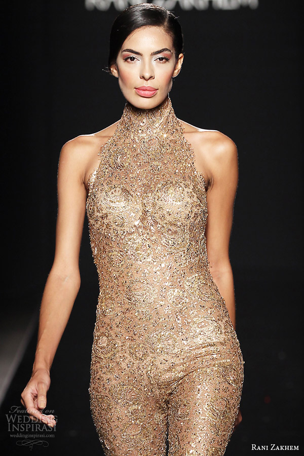 rani zakhem couture fall 2014 look 24 sleeveless halter neck gold playsuit close up