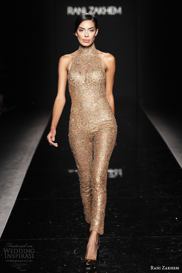 rani zakhem couture fall 2014 look 24 sleeveless halter neck gold playsuit