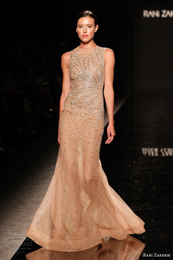 rani zakhem couture fall 2014 look 25 sleeveless embellished gown with high neckline