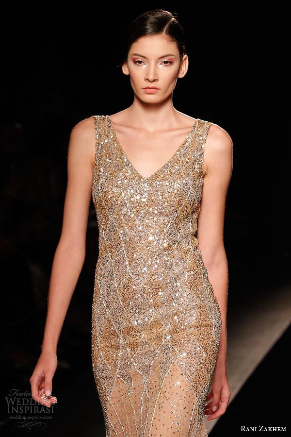 rani zakhem couture fall 2014 look 26 sleeveless sheath dress close up