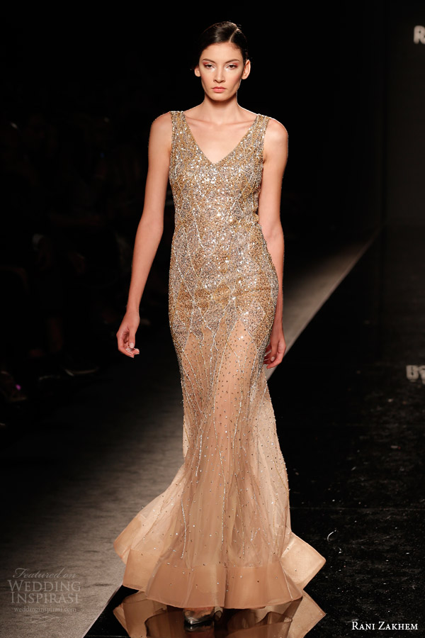 rani zakhem couture fall 2014 look 26 sleeveless sheath dress