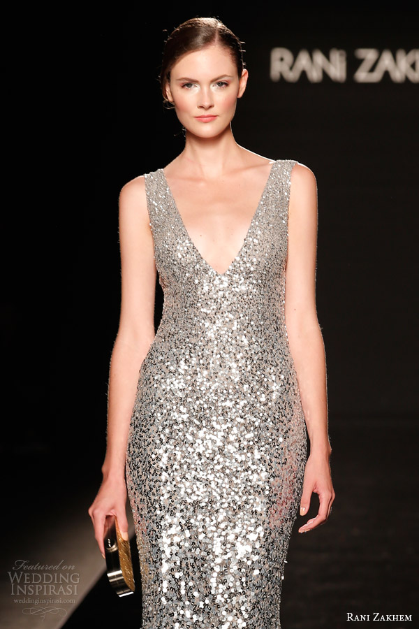 rani zakhem couture fall 2014 look 27 sleeveless silver sequin dress close up