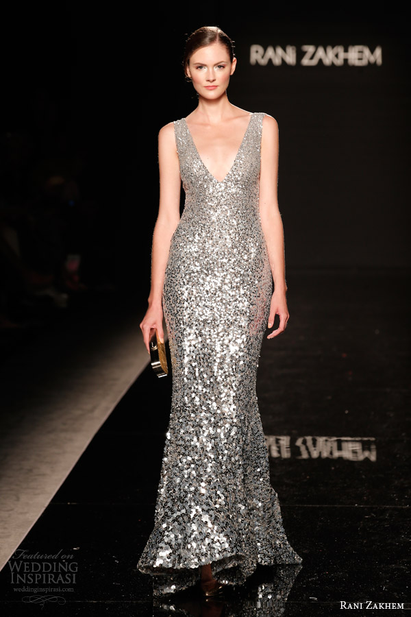 rani zakhem couture fall 2014 look 27 sleeveless silver sequin dress