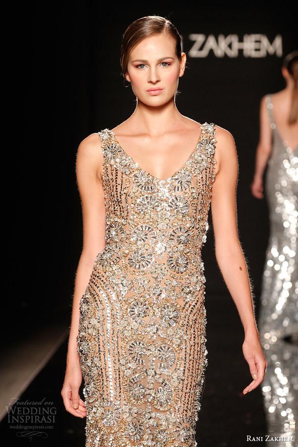 rani zakhem couture fall 2014 look 28 sleeveless heavily embellished sheath dress close up