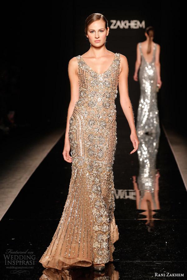 rani zakhem couture fall 2014 look 28 sleeveless heavily embellished sheath dress