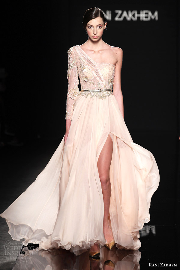 rani zakhem couture fall 2014 look 4 one shoulder long sleeve gown